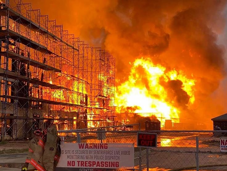 katy texas building under construction fire pic