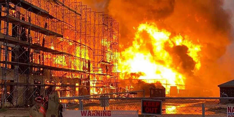 Katy, TX building under construction fire