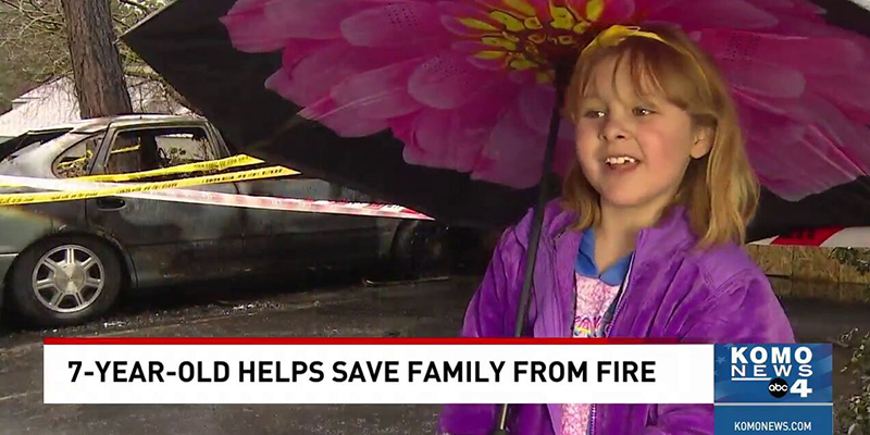 Girl on the news after saving family from fire