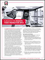 Featured item Guidance for remote video inspection (RVI)