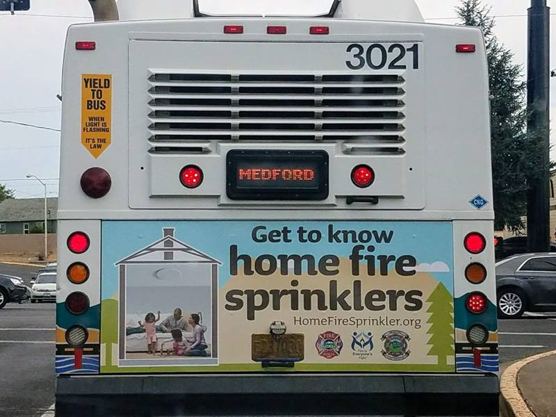 Oregon Fire Sprinkler Coalition creates bus ad