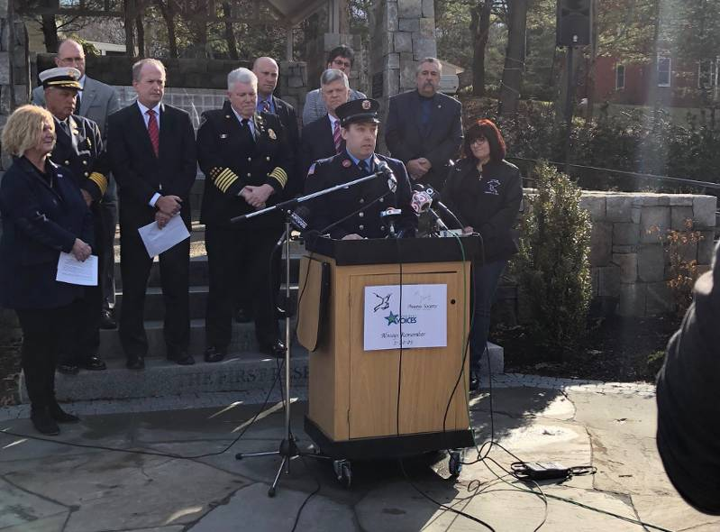 Burn survivor Rob Feeney speaks at an event marking the 15th anniversary of The Station Nightclub fire
