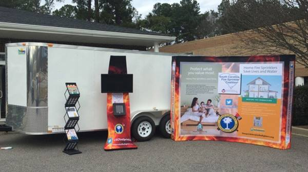 South Carolina Fire Sprinkler Coalition sprinkler demonstration trailer