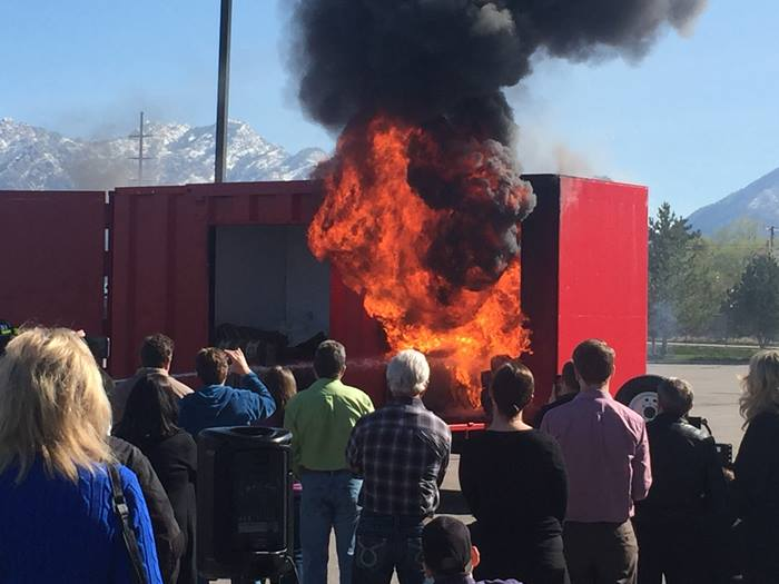 Fire demonstration at Utah Fire Sprinkler Summit