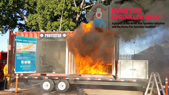 home fire sprinkler side by side burn demo