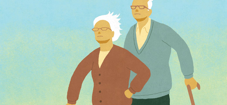Illustration of elderly couple standing in the wind