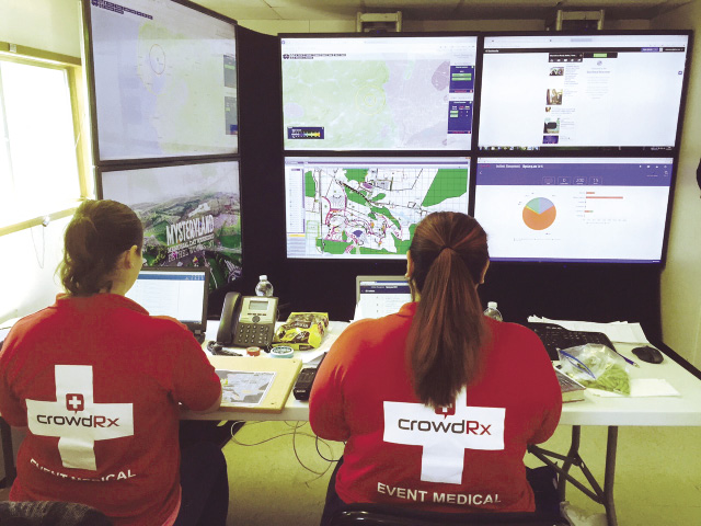 CrowdRX workers monitor computer screens showing data about a festival