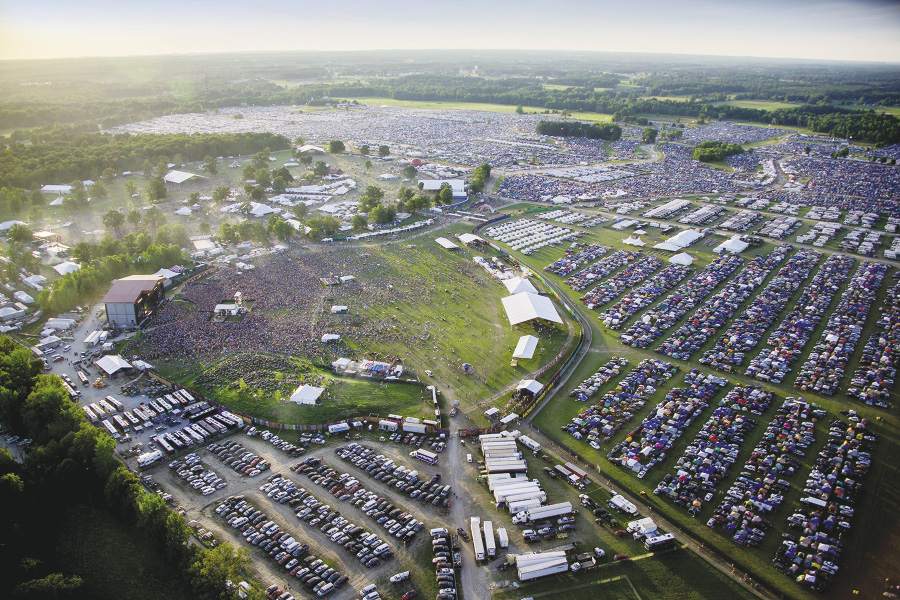 Aerial shot of Bonnaroo, an annual four-day music festival held on a farm in Manchester, Tennessee