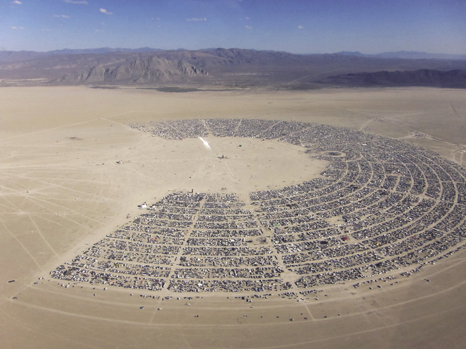 Aerial Shot of the Burning Man festival in the Black Rock Desert in Nevada