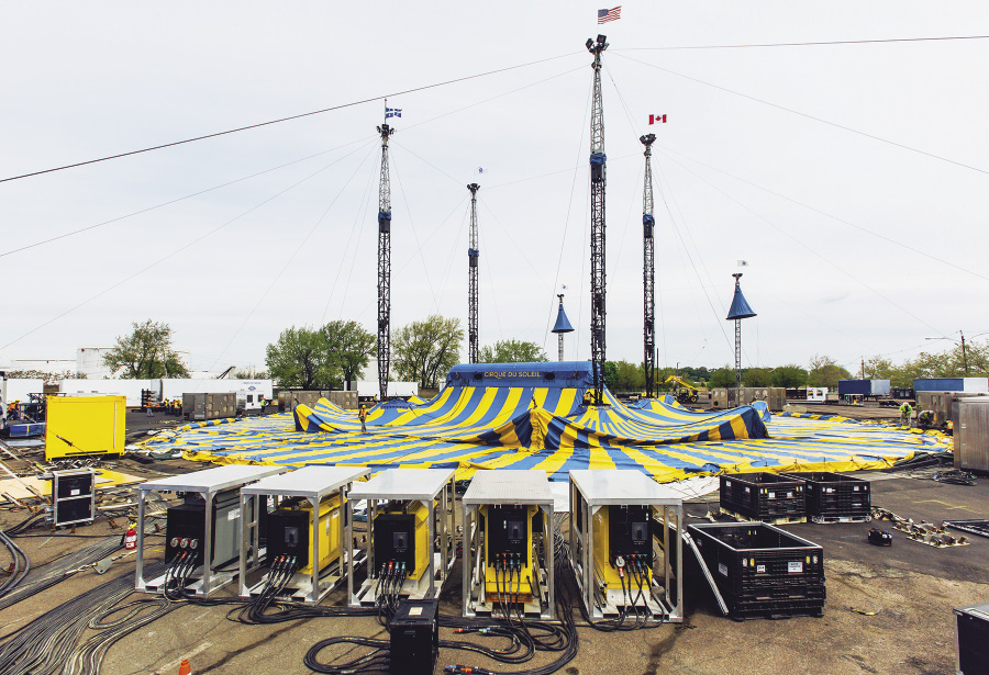The main big-top tent prior to raising & NFPA Journal - Cirque July August 2016