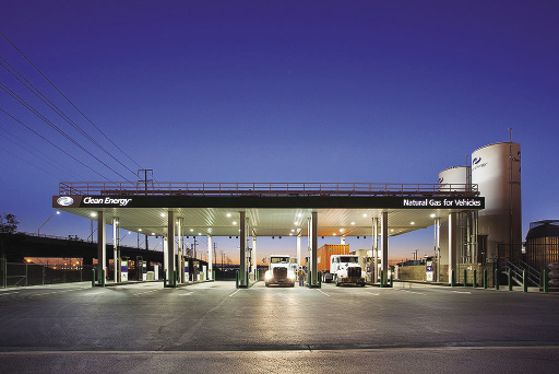 LNG gas station with trucks filling up