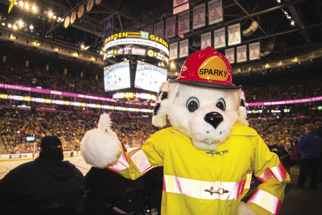Sparky the Fire Dog at the Boston Bruins Game