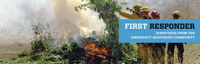 Firefighters burning a load of confiscated marijuana in Ventura County, California