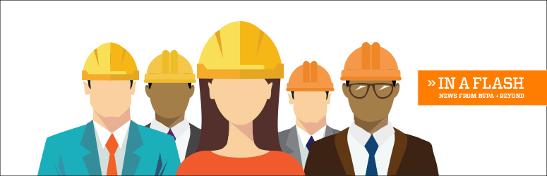 Illustration of business people with hard hats