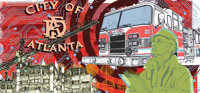 Illustration of elements of embracing analytics article including fire chief, apparatus and the city of Atlanta fire department