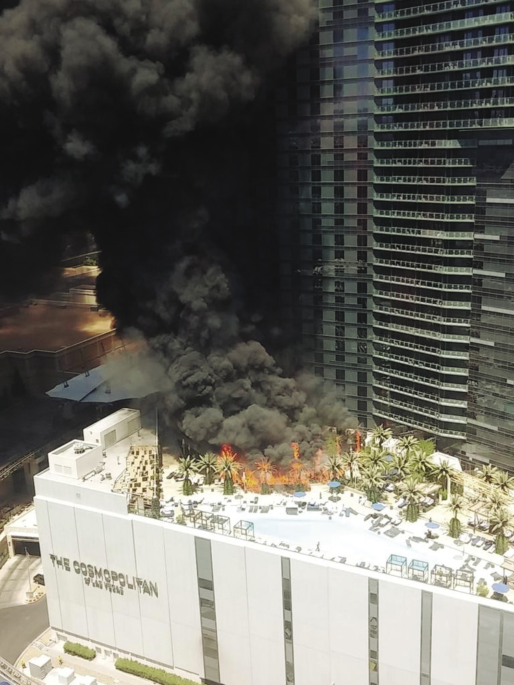 Aerial view of The Cosmopolitan Hotel pool fire