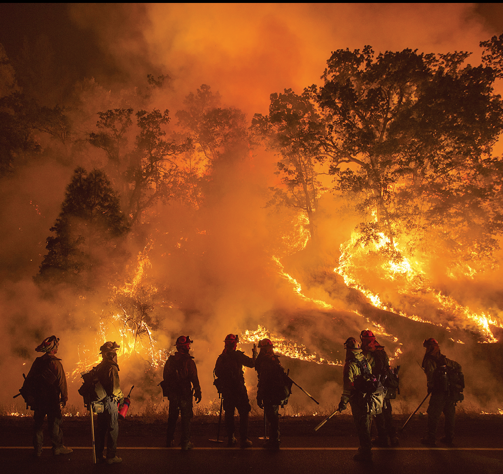Wildland firefighters stand in front of a hill on fire at night.