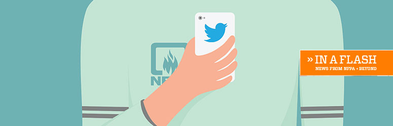 Illustration of teenager on his phone with twitter logo on phone and NFPA logo on shirt