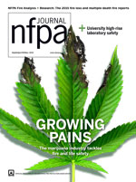 September October 2016 NFPA Journal Cover of a Burning marijuana leaf