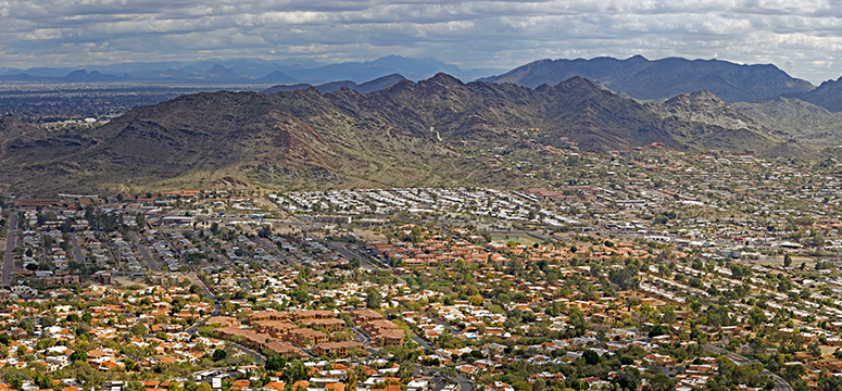 Aerial shot of Scottsdale, Arizona.
