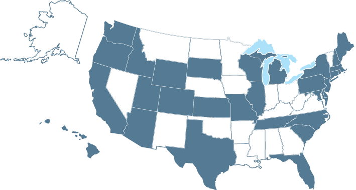 Map of all the states in the US with a home fire sprinkler coalition