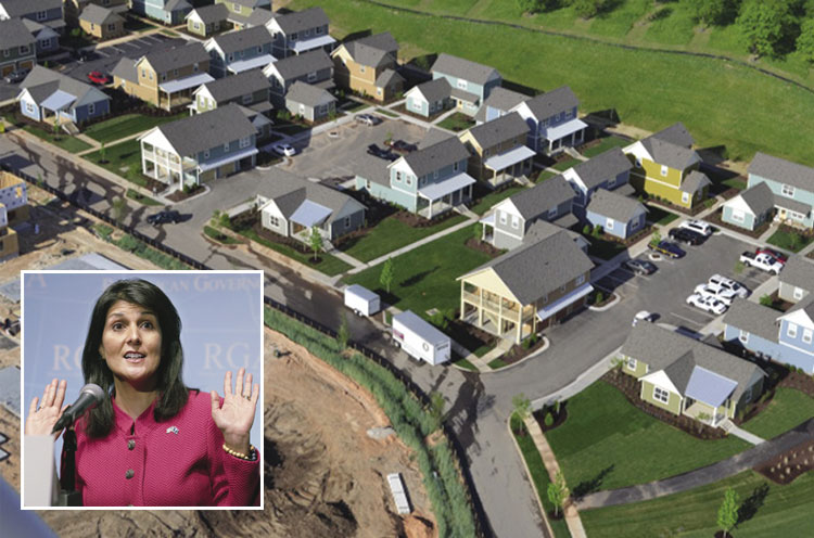 A bird's-eye view of a sprinklered housing development in South Carolina with the state's governor, Nikki Haley, in a cutout talking.
