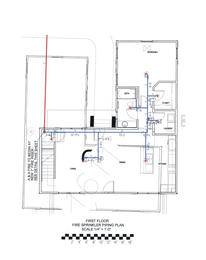 Designs for a fire sprinkler piping plan.