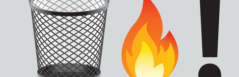 Emoji of a trash can, a fire and an exclamation mark.