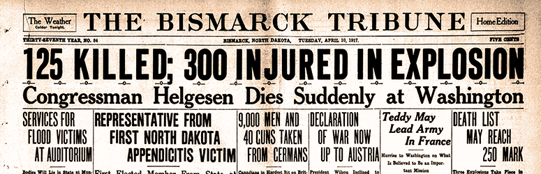 The Bismarck Tribune newspaper with the headline of 125 killed; 300 injured in explosion.