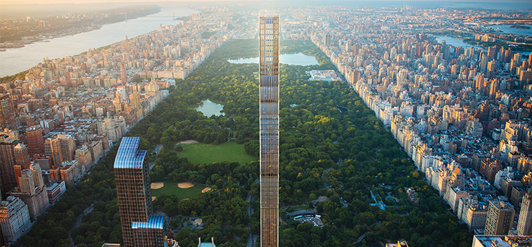 New building designs for a pencil skyscraper in New York City that overlooks Central park.  The residential tower will include 82 stories and rise to a height of more than 1,400 feet, with a footprint of just 60 feet by 80 feet.