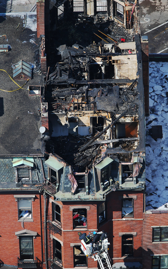 Aerial view of the Boston fire that killed two firefighters.