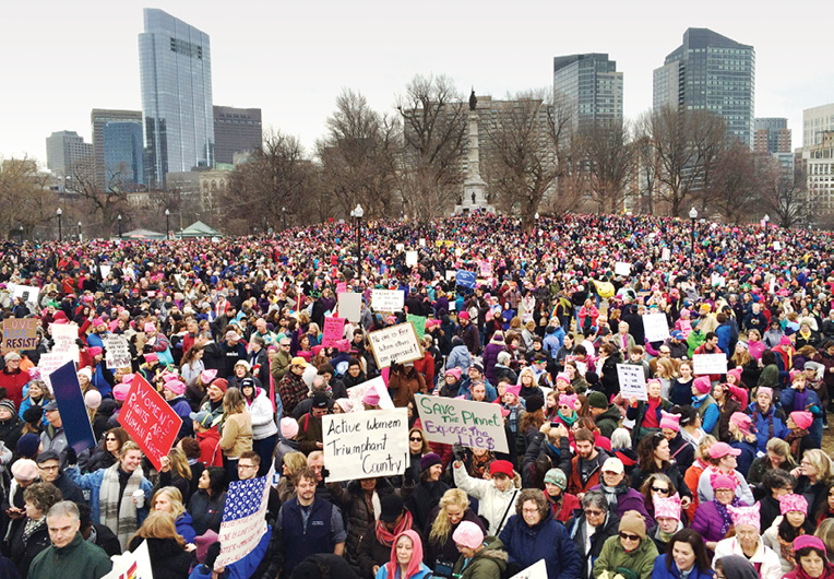 Massive crowd gathers in the Boston Common for the Womens March.
