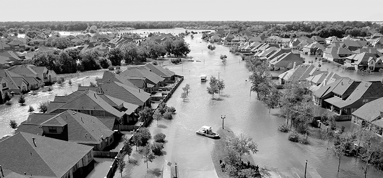 Drone photo of a neighborhood completely flooded