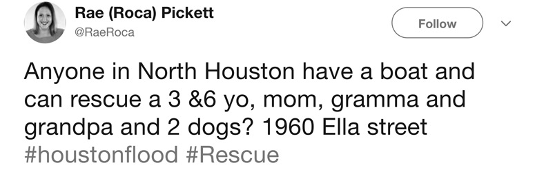 Tweet asking for someone to help rescue a family with children, grandparents and dogs
