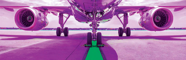 Front of an airplane with a purple overlay