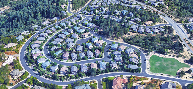 Aerial view of the Fountaingrove neighborhood in Santa Rose, California before the wildfire