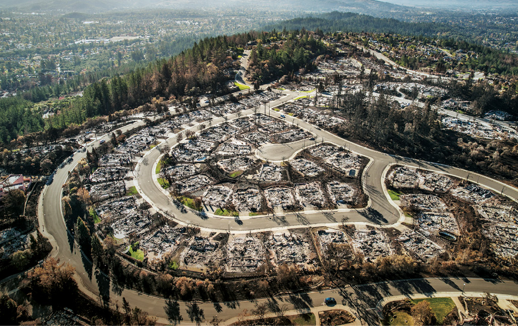Aerial view the Fountaingrove neighborhood after the Tubbs fire