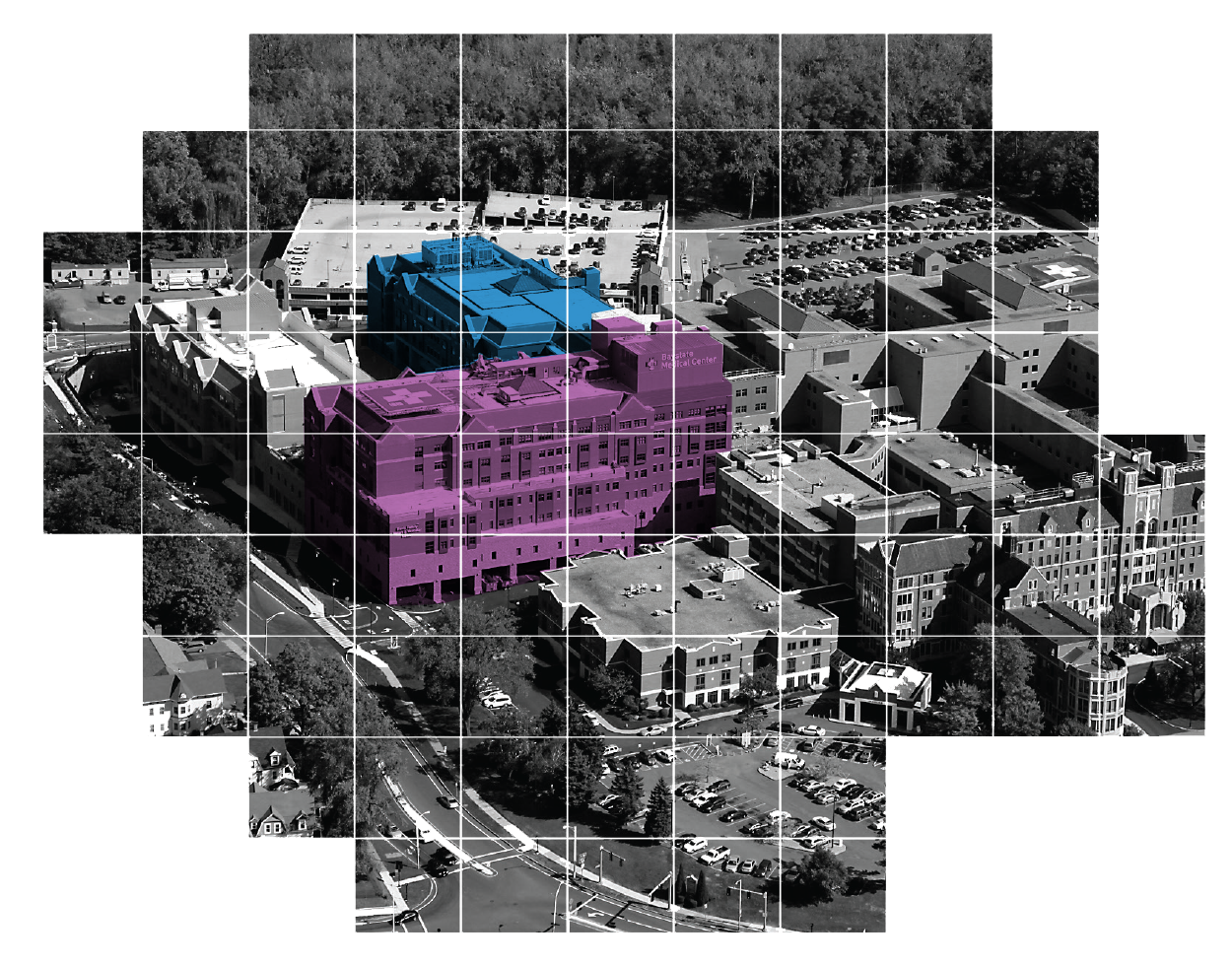 Baystate Medical Center highlighted to show where the evidence based design changes occurred