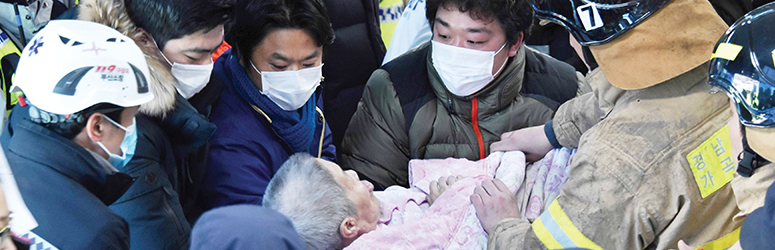 A patient is rescued from a hospital fire in South Korea