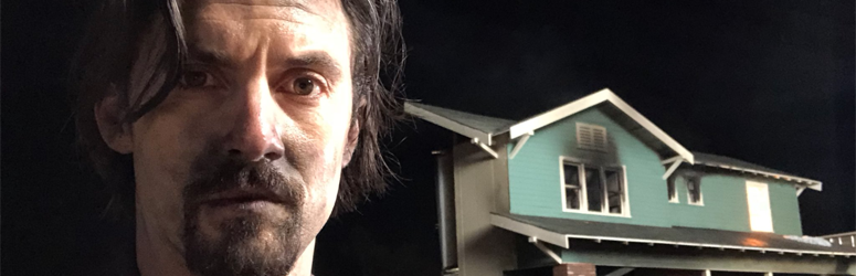 "Actor Milo Ventimiglia stands outside of burnt home from set of ""This is Us"""