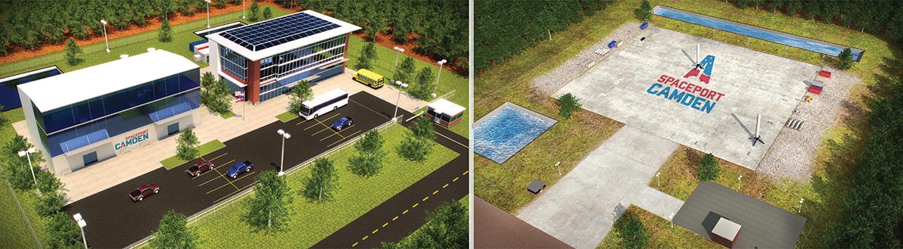 Rendering of Spaceport Camden Welcome center and landing zone