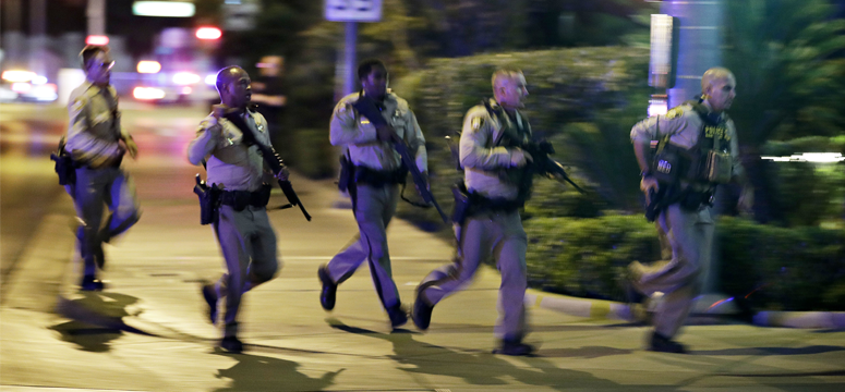 Police officers race to the scene of an active shooter