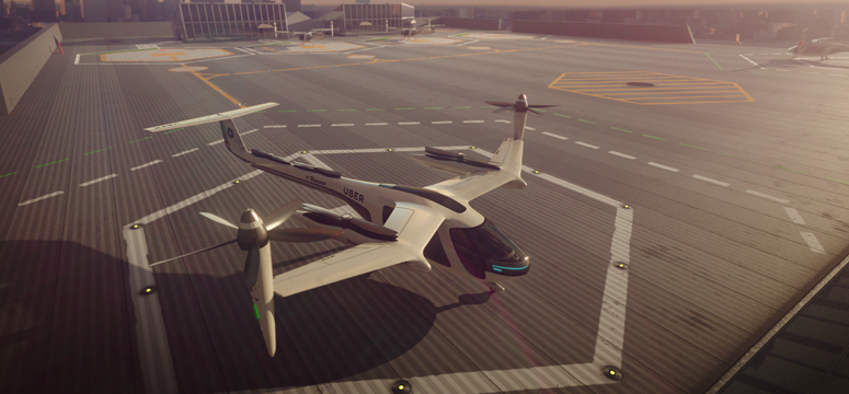 Futuristic flying taxi sits on top of a building with a city skyline in the background