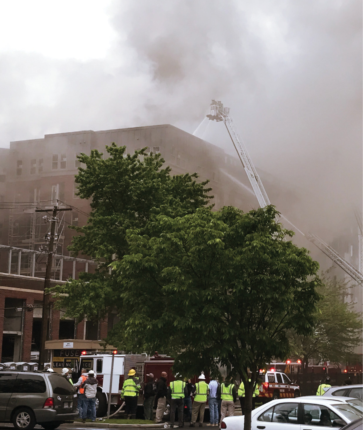 Firefighters battle a five-alarm blaze at a six-story apartment building under construction in Maryland.
