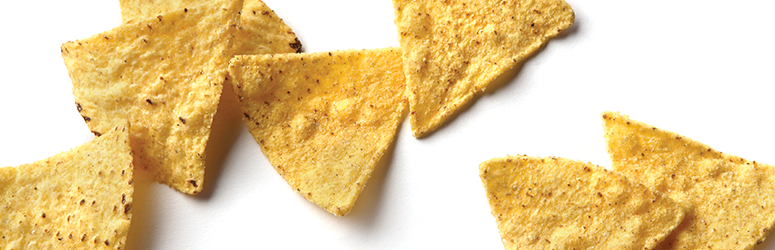 Tortilla chips on white background