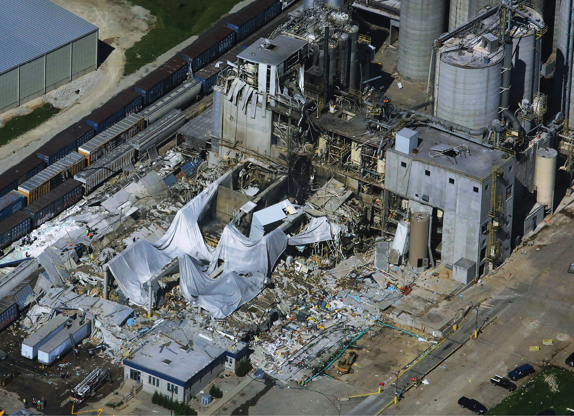 Ariel view of the aftermath of the corn milling plant explosion and fire in Wisconsin.