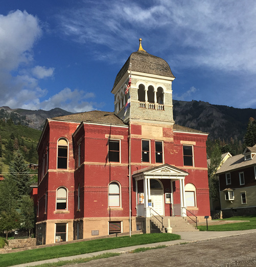 Outside photo of the Ouray County Courthouse in Colorado