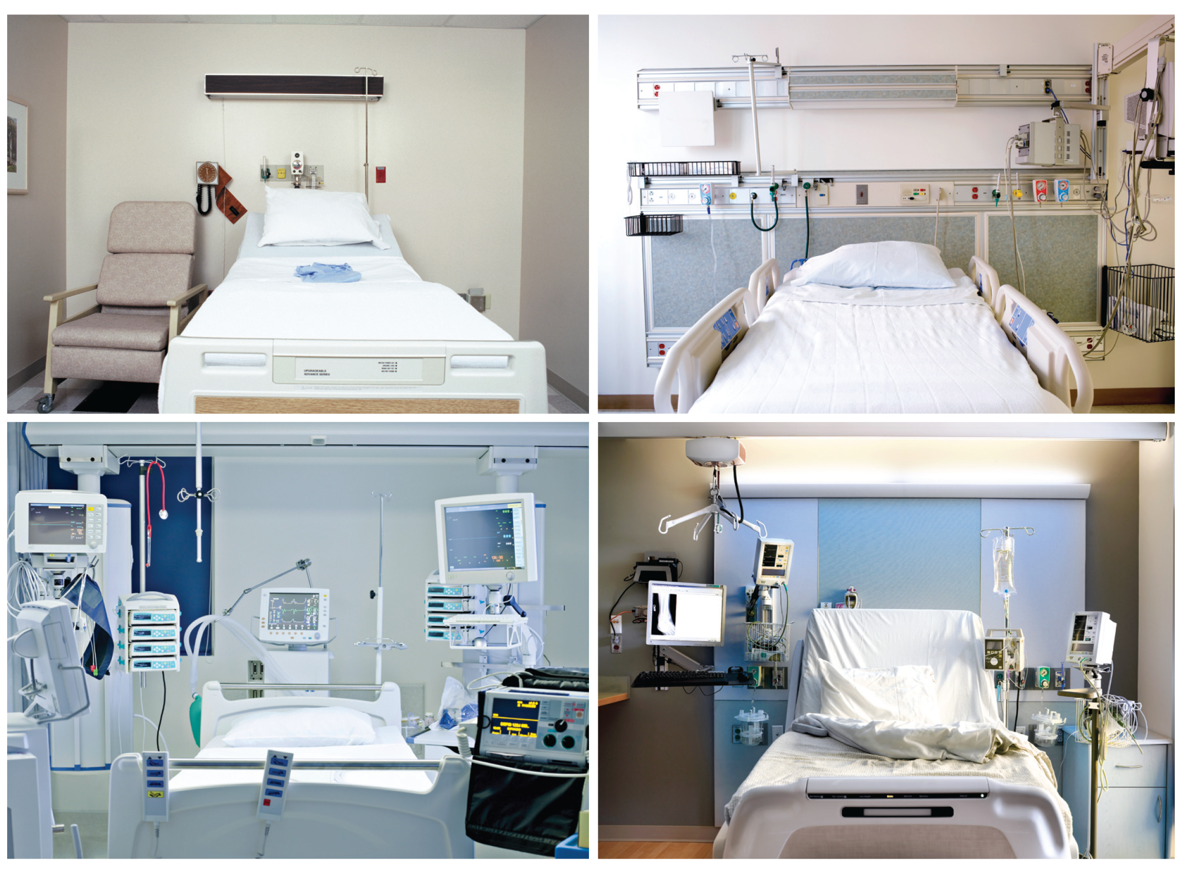 Different versions of the acuity adaptable rooms