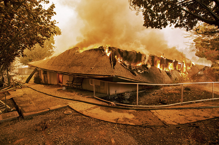 Home engulfed in flame