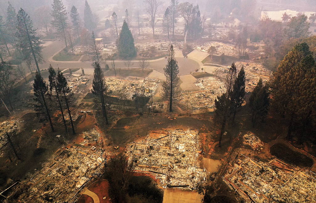An aerial view of a neighborhood destroyed by the Camp Fire in Paradise, California.